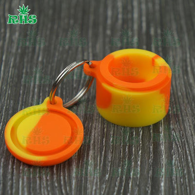 - 100pcs mix color 6ml key ring silicone containers jar dab oil wax container 6ml silicone key ring free shipping by DHL fast ship -   jetcube