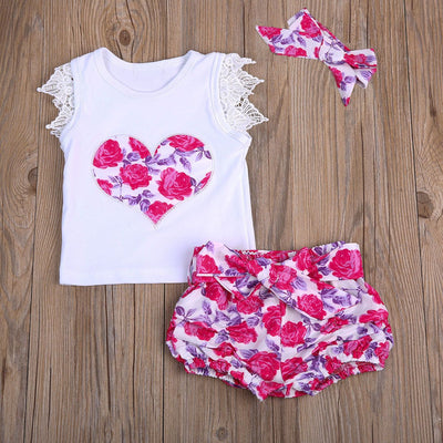 - 0-3T Baby Clothing Set Toddler Kids Baby Girls Outfit Clothes Lace T-shirt Tops+Floral Shorts +headband 3PCS Sunsuit Clothing -   jetcube
