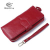 - 100% Oil Wax Leather Vintage Clutches Purse Genuine Leather Women's Wallets Zipper Coin Purse Day Cluthes Bags -   jetcube