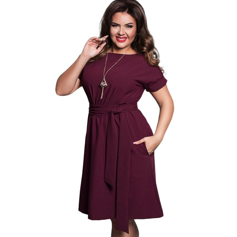 2d2a7036ac5 Summer Dress Big Size Office Dress Blue Red Green Dresses Plus Size Women  Clothing With Belt