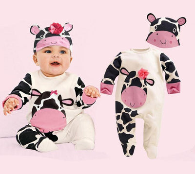 - (animal baby boy clothes) baby clothes romper cow/ panda/lion/ tiger long-sleeved romper with cute hat - a / 12M  jetcube