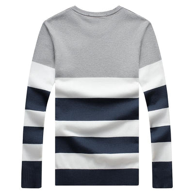 - 2016 Full Sleeve Striped O-neck Casual Plus Size Warm Wool Pullover Sweater Chompas Para Hombre -   jetcube