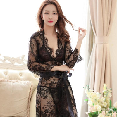 Women Pajamas Full Long Sleeve Sexy Lace Lingerie Hot Robe Solid Night Robe with Briefs + Bras + Robe