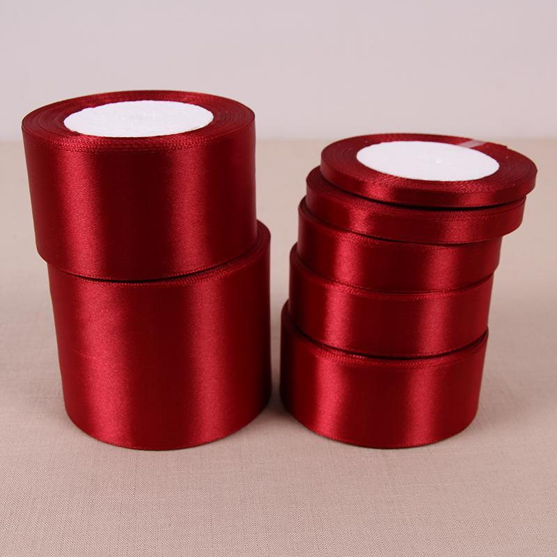 - (25 Yards/roll) 6/10/15/20/25/40/50mm Wine Red Color Single Face Satin Ribbon DIY Gift Wrapping Christmas Ribbons -   jetcube