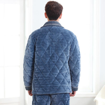 Hot Sale Pijamas Hombre Russia Winter Quilted Pajamas Men Aged Solid Thick Coral Velvet Quilted Jacket Tracksuit