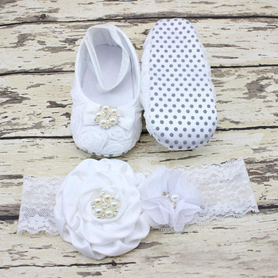 - 0-12 Months Newborn Baby Girl Shoes white baptism Toddler Infant Fabric Booties Flower Headband Set Pearls Lace Princess KU31 - a / 2  jetcube