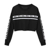 2018 Women Casual Loose Hoodies Sweatshirts Fashion White Letter Print Crop Sweatshirt Top Blouse Womens Clothes Sudaderas Mujer