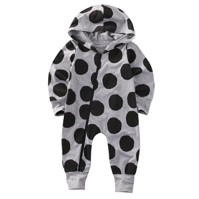 - 0-24M Newborn Baby Boy Girl Clothes Fashion Bebes Autumn Winter Warm Long Sleeve Dot Zipper Hooded Romper One Pieces Outfit - Gray / 10-12 months  jetcube