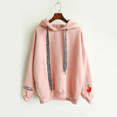 2017 Autumn Fashion New Women Harajuku Style Sweatshirts Pullover Drawstring Letter Embroidery Cute Hooded Hoodie Hoodies Tops  dailytechstudios- upcube