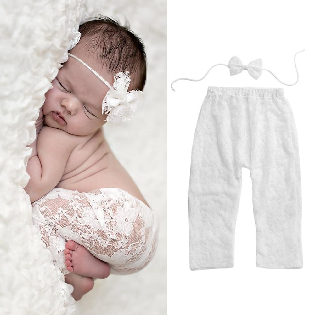 - 0-6 Month Newborn Baby Girls Photography Prop Lace Pant with Bowknot Headband Fashion Baby Long Pants Headband Outfits Set -   jetcube