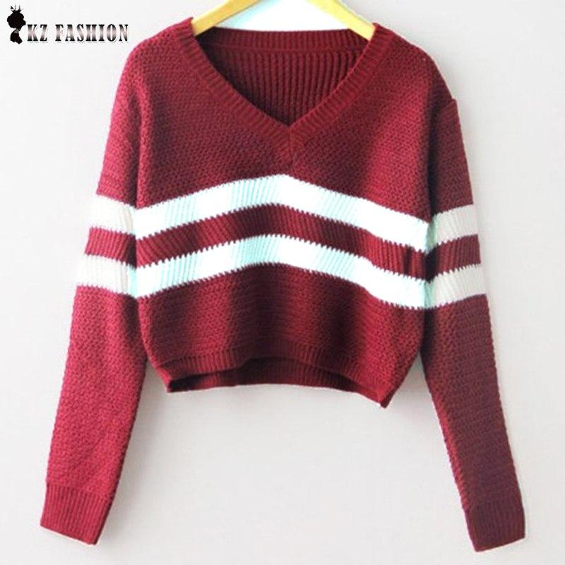 2017 Autumn striped knitted shorts Pullover crop girl Sweaters women fashion V Neck fall long Sleeve sexy Knitwear Korean T58305