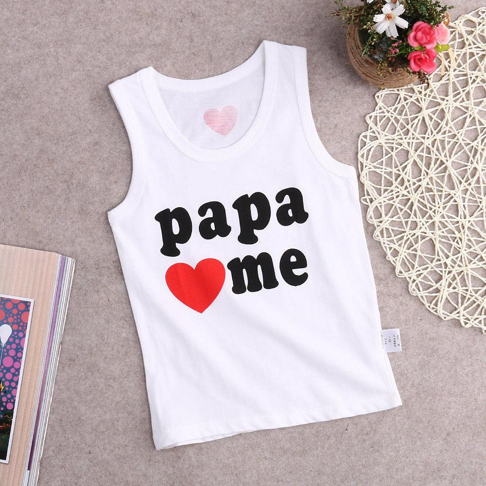 - 0-4Y Summer Newborn Toddler Baby Kids Boys Girls Clothes Top Bebes Love Sleeveless T shirt Casual Tops Blouse -   jetcube