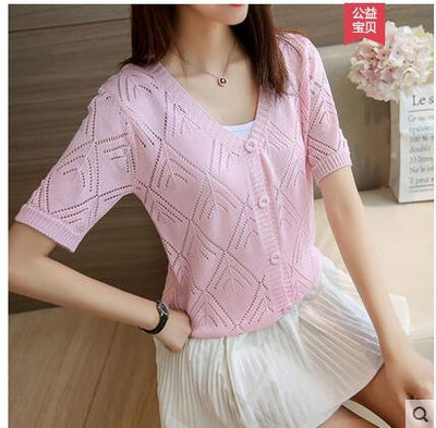 - 18 new women's Korean long sleeved knit cardigan collar hollow V simple air conditioning shirt female coat F1844 - pink / One Size  jetcube