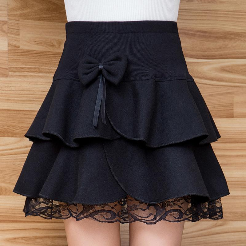 Winter Skirts Womens Fall Autumn Fashion Elastic Waist Lace Hem Grey Black Falda Bow Flounced Ruffles Short Mini Wool Skirt