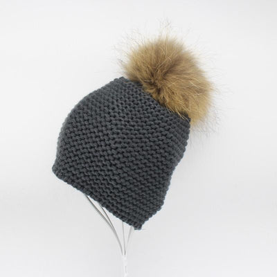 - 2016 Fashion Knitted Baby Hats Boy Winter Outdoor Ear Protection Beanies Caps Pom pom Real Fur Hat Kids - Gray  jetcube