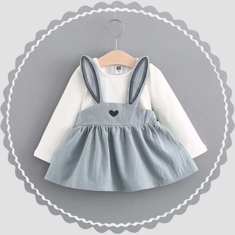 - 0-2 ages cotton 2017 spring autumn cartoon cute character rabbit pattern kid children clothing baby girl dress princess dress - Gray / 12M  jetcube