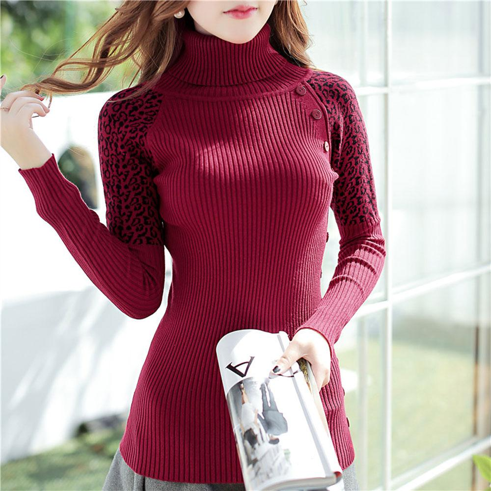Slim Knitted Long Sweater Women Elegant Turtleneck Twist Wave Leopard Thick Warm Pullover Sweater For Women With Button Pull
