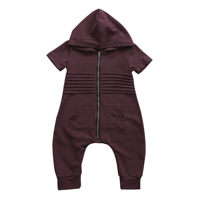 - 0-24M Newborn Baby Boy Girl Clothing Zipper Short Sleeve Hooded Romper Jumpsuit One Pieces Toddler Kids Clothes -   jetcube