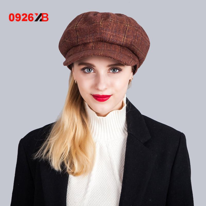 - 0926XB Berets Plaid Tweed Gatsby Newsboy Cap Women Khaki Wool Ivy Hat Golf Driving Flat Cabbie Flat Unisex Berets Hat XB-D603 - Coffee  jetcube
