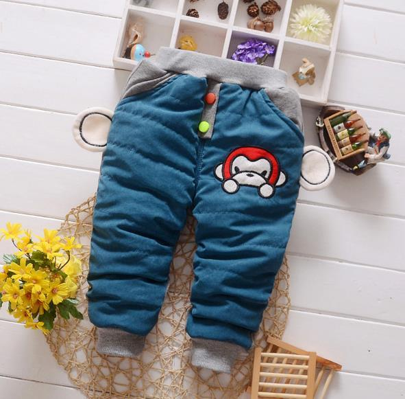 - 0-3T Baby boy winter cotton thicken monkey pants DN0003 - Sky Blue / 12M  jetcube