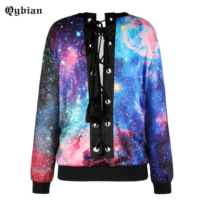 2017 Autumn Fall Back Drawstring Cross Straps O-Neck Loose Sweatshirt Womne Top Fashion Clothes Space Galaxy print Sweatshirts