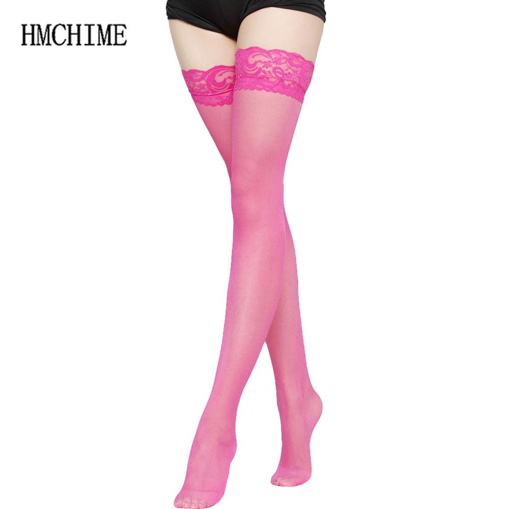 896ae527fc8 7 colors Thigh High Sexy Stockings Lace Silicone Stay Up Transparent  Pantyhose For Women Medias Over