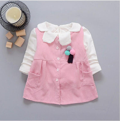- 0-2-year-old female baby fashion new cotton long-sleeved T-shirt and corduroy vest 2 PCS / set + free gift -   jetcube