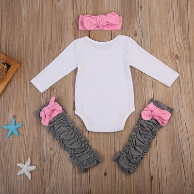- 0-24M Baby Sister Newborn Clothes Long Sleeve Letter Print Cotton Romper Jumpsuit+Bow Legging Warmer Headband Outfits 3PCS Set -   jetcube