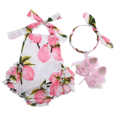 - 0-1 Year First Birthday Baby Show Floral Baby Clothes Girls Cute Headband Bebe Shoes 3 PCS set;Props Cotton Baby Rompers Overall - 7E3046 / 12M  jetcube