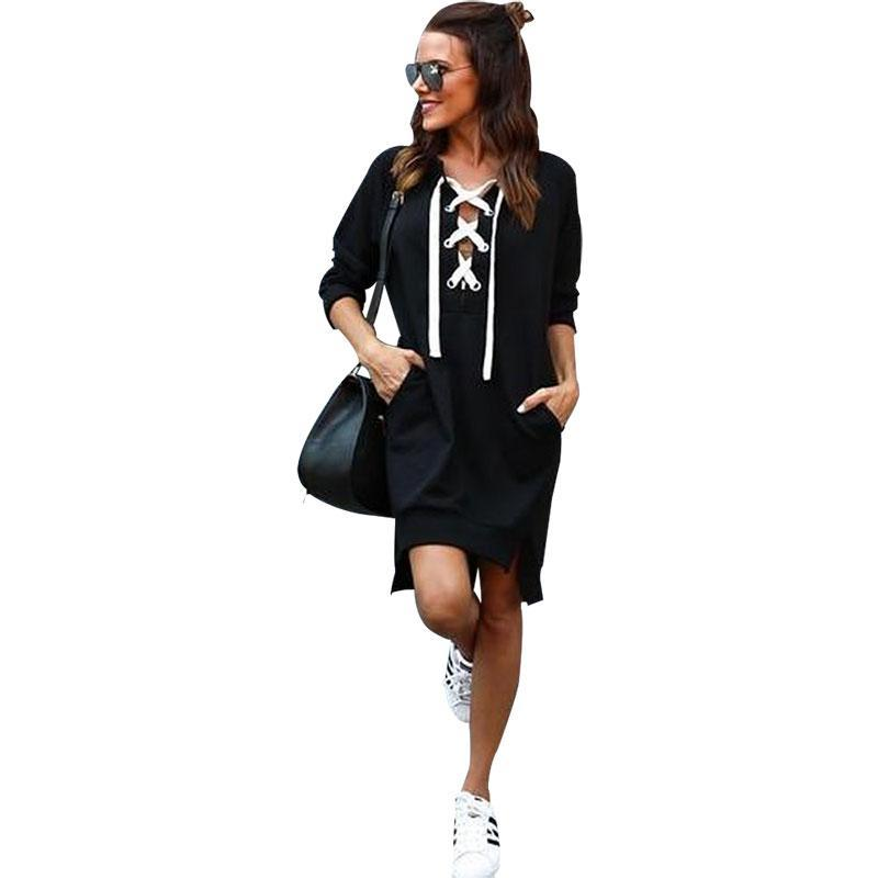 2017 Autumn Sexy Women V-neck Bandage Hoodie Dress Long Sleeve Womens Sweatshirt Long Hoodie Dress Hooded Vestido De Festa