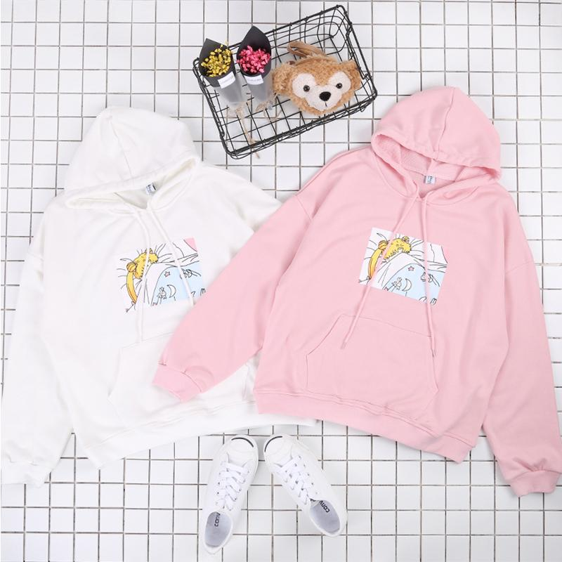 Japanese Funny Cartoon Printed Women Sweaters 2018 Spring New Fashion Pullovers Long Sleeve Casual Tops 64095