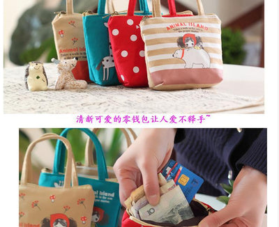 - 1 PC Cute Unisex Women Men Mini Sweet Doll Girl Canvas Coin Bag Wallet Pouch Card Purse Zip Key Holder Case -   jetcube