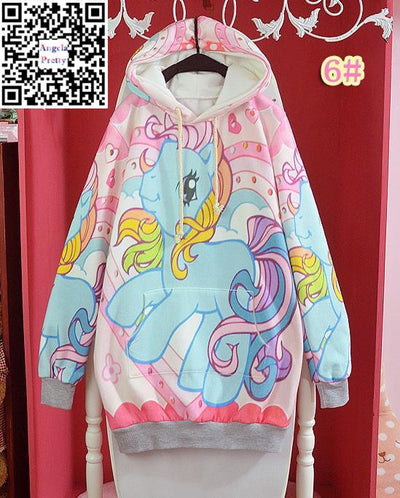 - 12 styles Soft Sister Sweatshirt Pretty Lolita Sweet Hoodies Harajuku Bunny Printed Pullover Women Winter Thick Fleece Pullovers -   jetcube