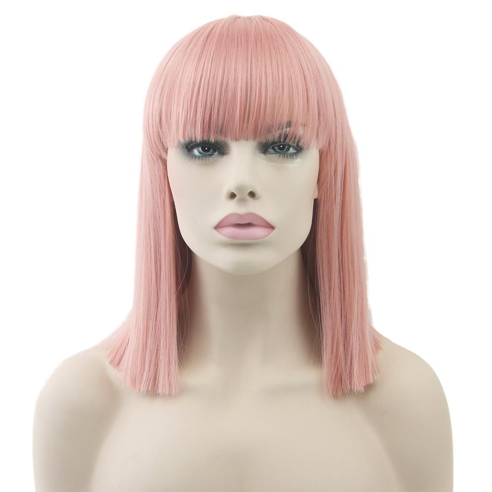 Soowee Short Straight None Lace Wig High Temperature Fiber Synthetic Hair Pink Black Women Party Hairpiece Cosplay Wigs