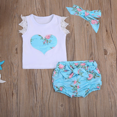 - 0-3T Baby Clothing Set Toddler Kids Baby Girls Outfit Clothes Lace T-shirt Tops+Floral Shorts +headband 3PCS Sunsuit Clothing - Blue / 12M  jetcube