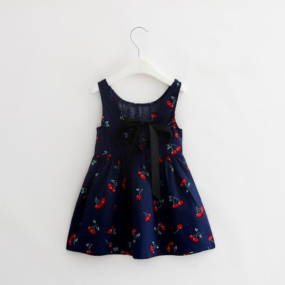 - 2-7y Girls Clothing Summer Girl Dress Children Kids Berry Dress Back V Dress Girls Cotton Kids Vest dress Children Clothes 2017 - navy / 2T  jetcube