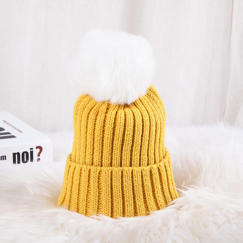 - 0926XB Skullies & Beanies Kid Solid Hats Real pompom hat winter hats for women knitted hat beanie women girls 10 colorst XB-A415 - Yellow / Children  jetcube