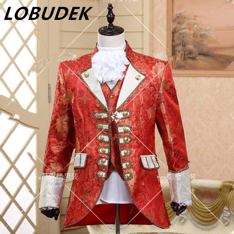 - (jacket+pants+vest+tie)suit European prom wedding groom formal dresses costume stage show red singer star performance party -   jetcube