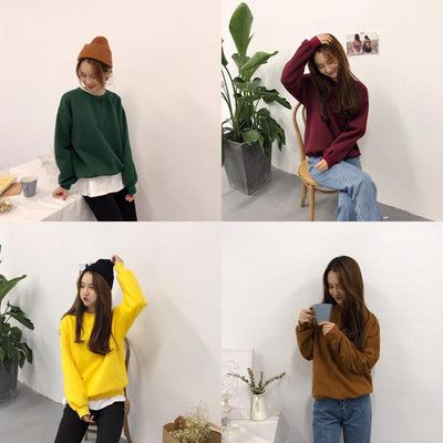 - 12 colors 2017 autumn and winter solid color thickening long-sleeve basic sweatshirts womens sweatshirts and pullovers (B0809) -   jetcube