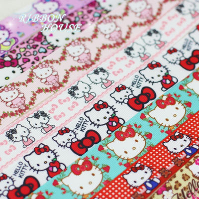 - (10 Colors Mix) 22mm Printed Pretty Cats Grosgrain Ribbon Wholesale Cartoon Animal Ribbons -   jetcube