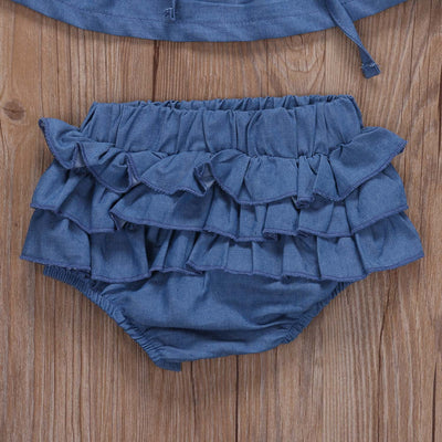 Pudcoco Newborn Infant Baby Girls Clothing Set Denim Off Shoulder Tops  Layered Shorts Outfits Summer Girls 80f0ba900