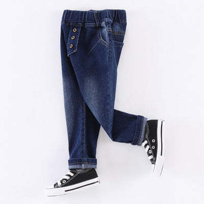 - 2-6years New Style boys Jeans Kids Clothes Children Clothing Boys Jeans Casual Elastic Waist Fashion blue Denim Pants Trousers -   jetcube