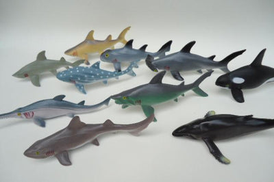 - (10 pieces/lot) Soft Plastic Big Sharks Model Set 15-20cm PVC Sea Life Shark Whale Marine Life Figure Toys Free Shipping -   jetcube