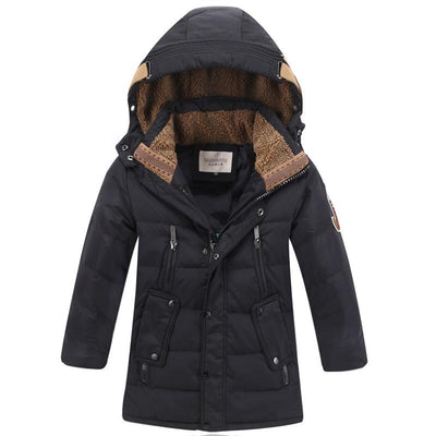 - -30 Degree Children's Winter Jackets Duck Down Padded Children Clothing 2018 Big Boys Warm Winter Down Coat Thickening Outerwear - Black / 10  jetcube