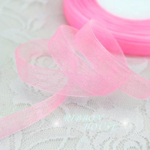- (50 yards/roll) 1/2''(12mm) organza ribbons wholesale gift wrapping decoration Christmas ribbons - Pink  jetcube