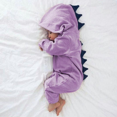 - 0-2 years 2017 Autumn Cotton Animal Dinosaur Baby Rompers One Pieces Jumpsuits Newborn Baby Boys Girls Costume Toddlers Clothing - Purple / 12M  jetcube