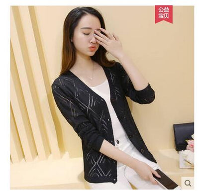 - 18 new women's Korean long sleeved knit cardigan collar hollow V simple air conditioning shirt female coat F1844 - long  black / One Size  jetcube