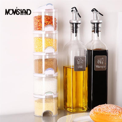MOM'S HAND 5pcs/Set Kithcne Creative Transparent Seasoning Cans Kitchen Cylindra Spice Rack Condiment Bottles Pepper Shakers Box