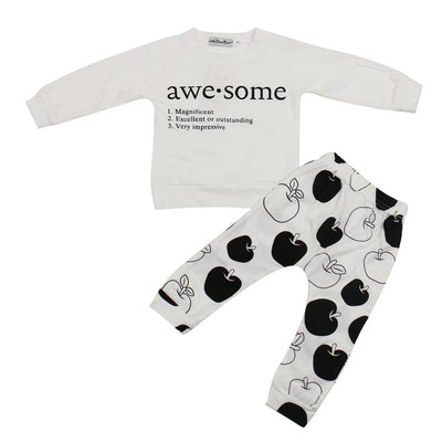 2017 autumn Fashion baby girl clothes set letter Pattern long sleeve t shirt+pants 2pcs newborn baby clothing set