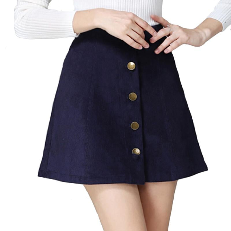 2017 Autumn vintage fashion corduroy high waist sexy mini skirt winter short a line skirts black gray casual skirts A802